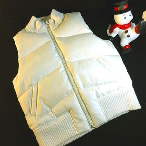 Old Navy Puffy Cream Vest With Sweater Neck Size S